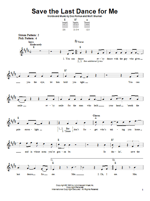 The Drifters Save The Last Dance For Me sheet music notes printable PDF score