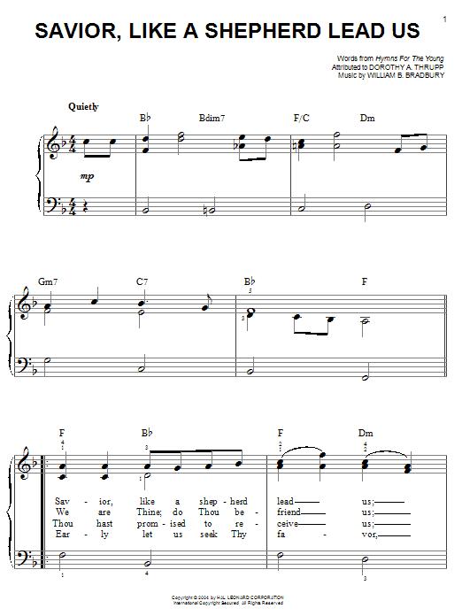 William B. Bradbury Savior, Like A Shepherd Lead Us sheet music notes printable PDF score