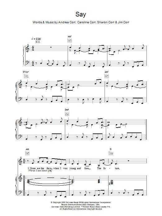 The Corrs Say sheet music notes printable PDF score