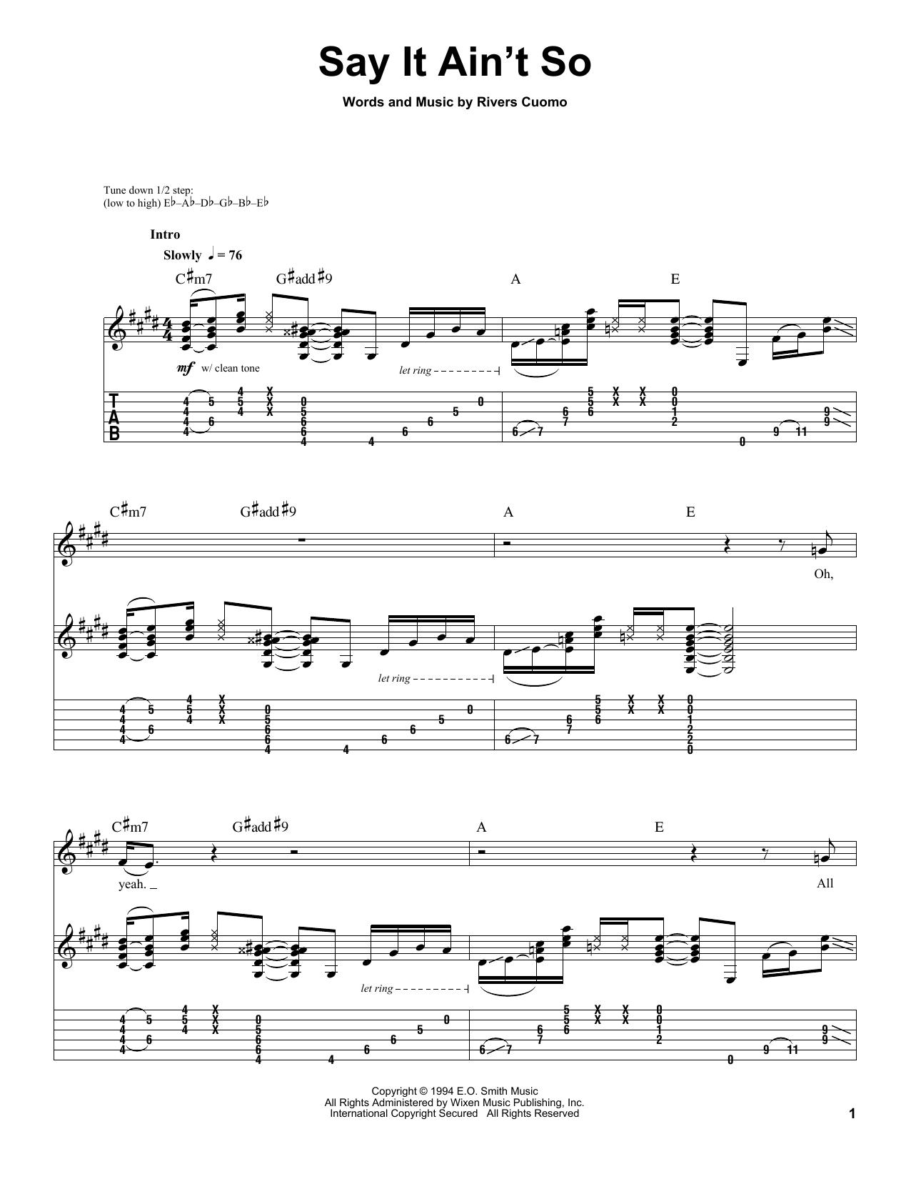 Weezer Say It Ain't So sheet music notes printable PDF score