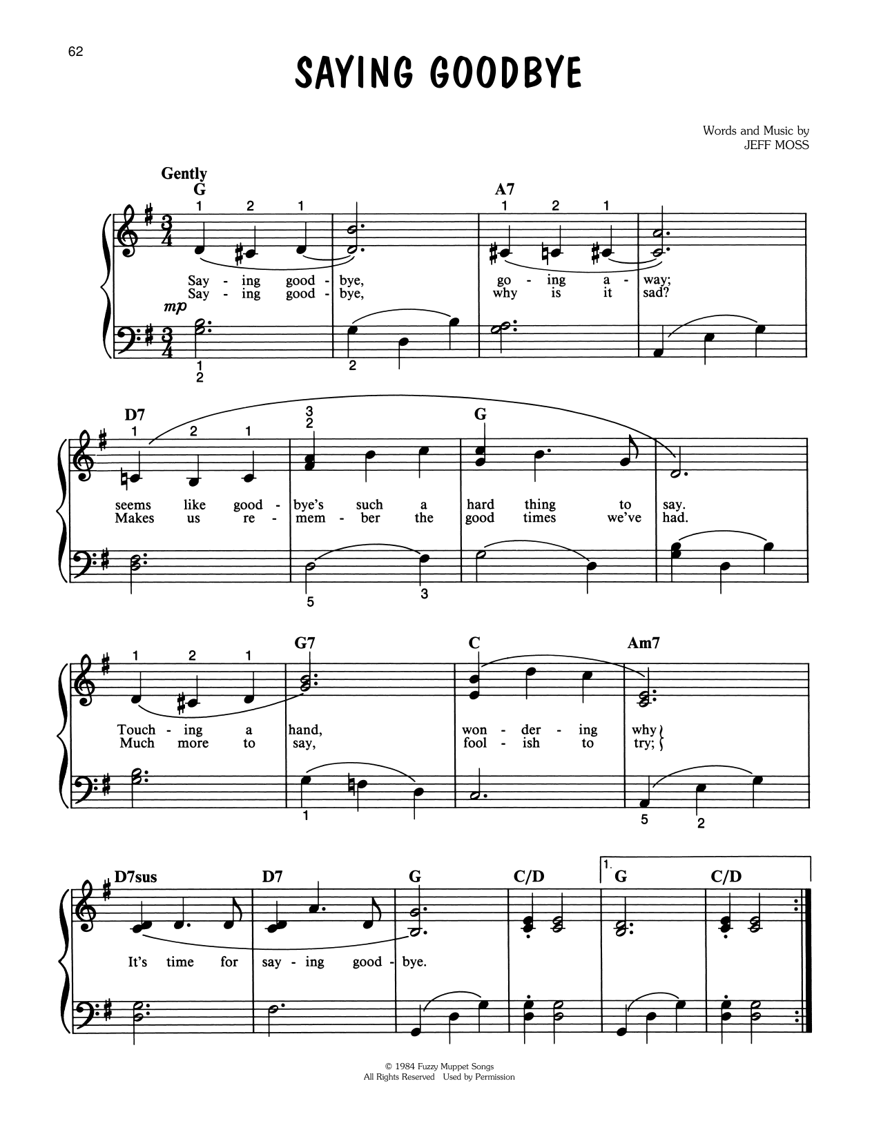 Jeff Moss Saying Goodbye (from The Muppets Take Manhattan) sheet music notes printable PDF score