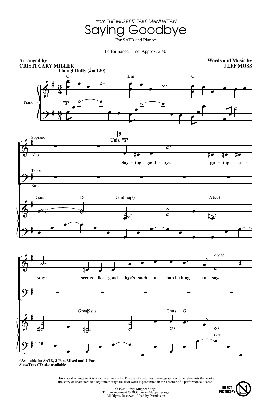 Jeff Moss Saying Goodbye (from The Muppets Take Manhattan) (arr. Cristi Cary Miller) sheet music notes printable PDF score