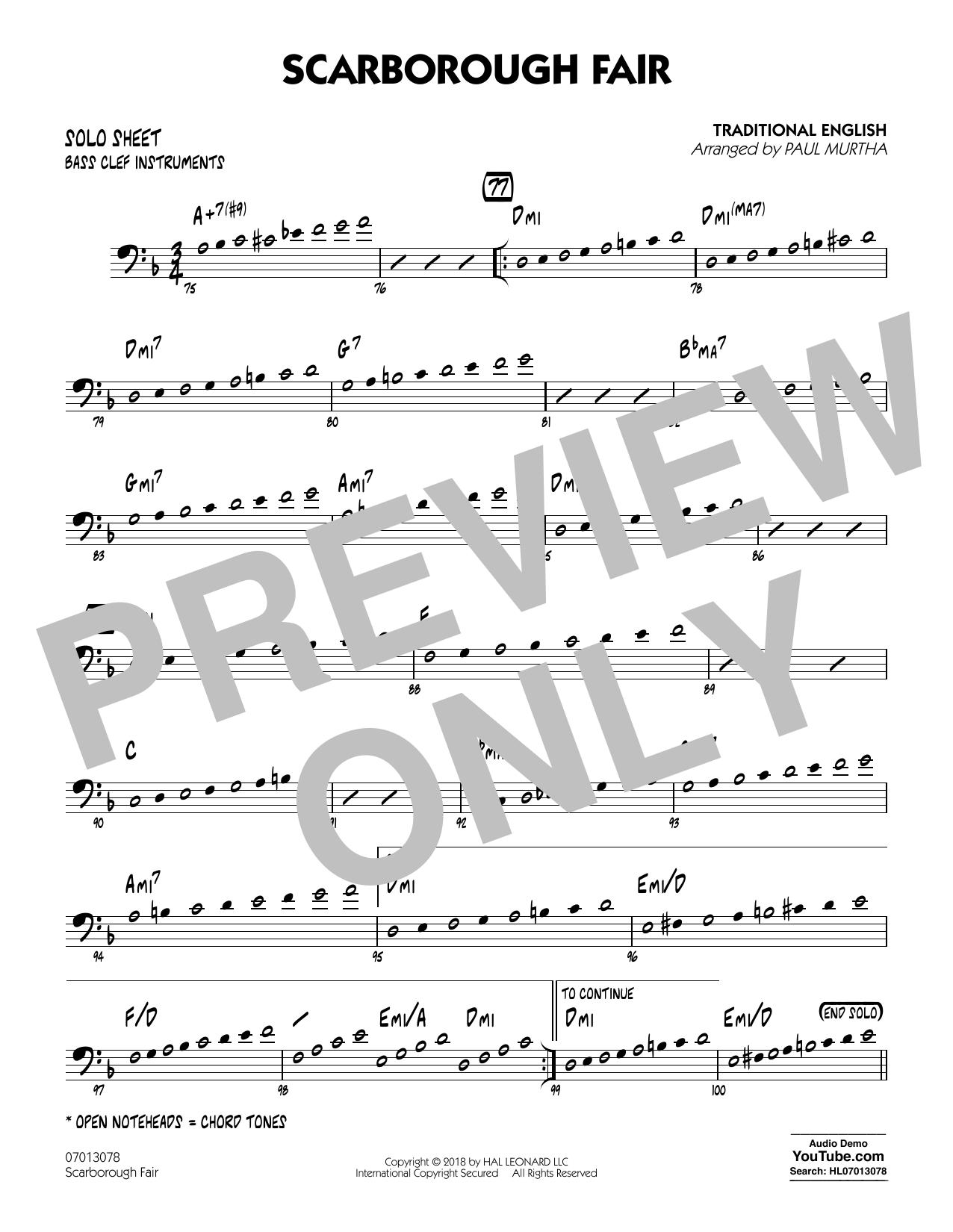 Paul Murtha Scarborough Fair - Bass Clef Solo Sheet sheet music notes printable PDF score