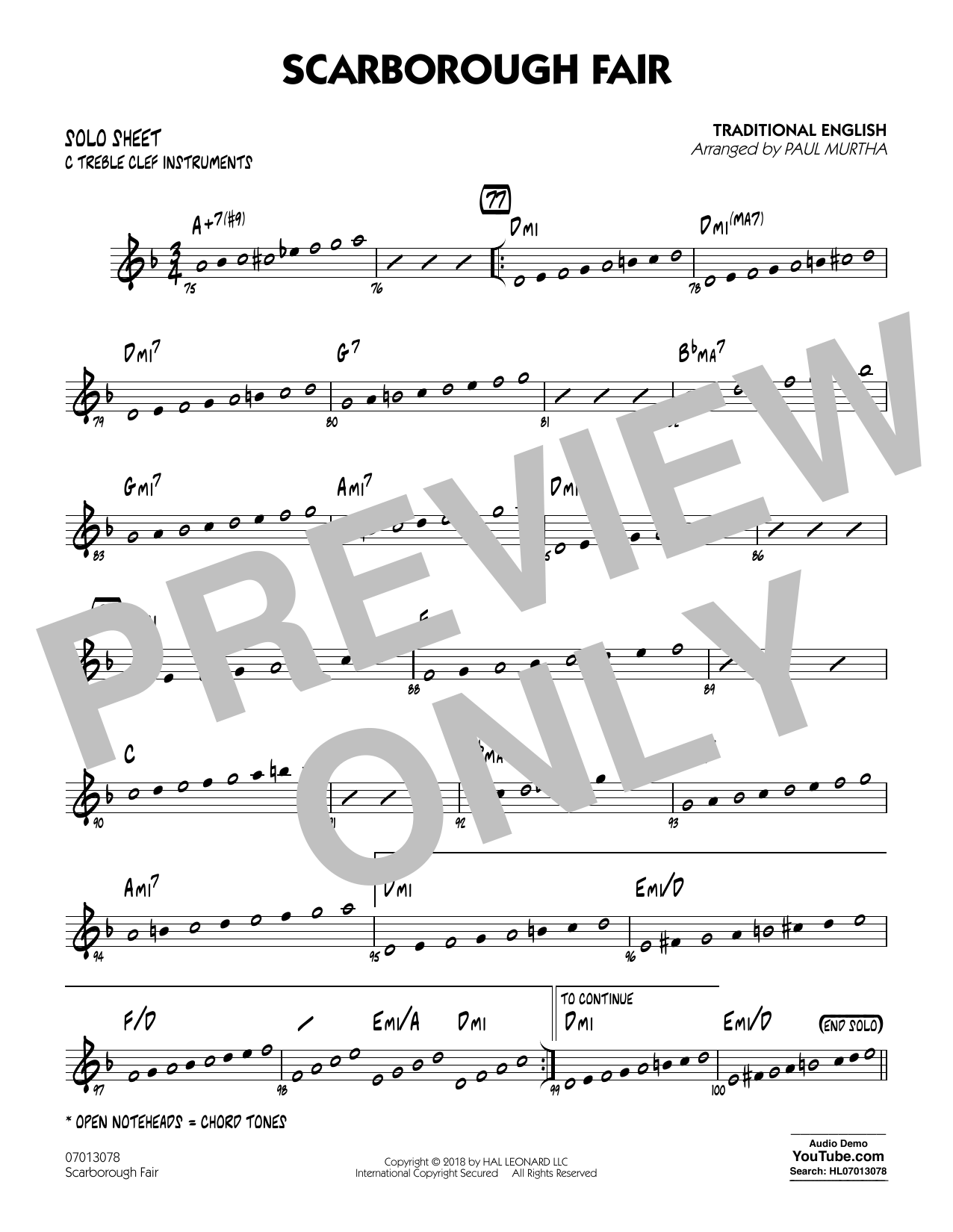 Paul Murtha Scarborough Fair - C Solo Sheet sheet music notes printable PDF score