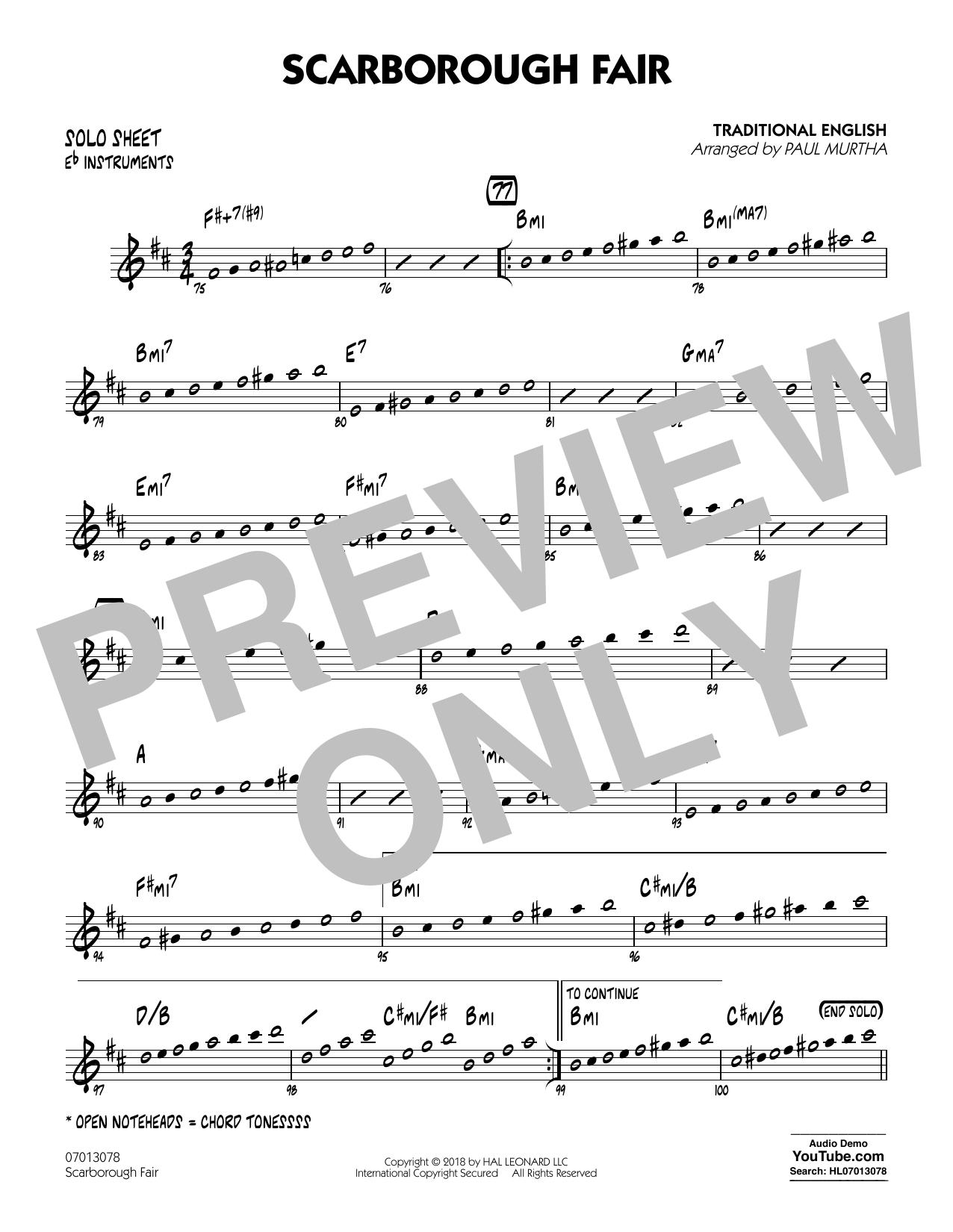 Paul Murtha Scarborough Fair - Eb Solo Sheet sheet music notes printable PDF score