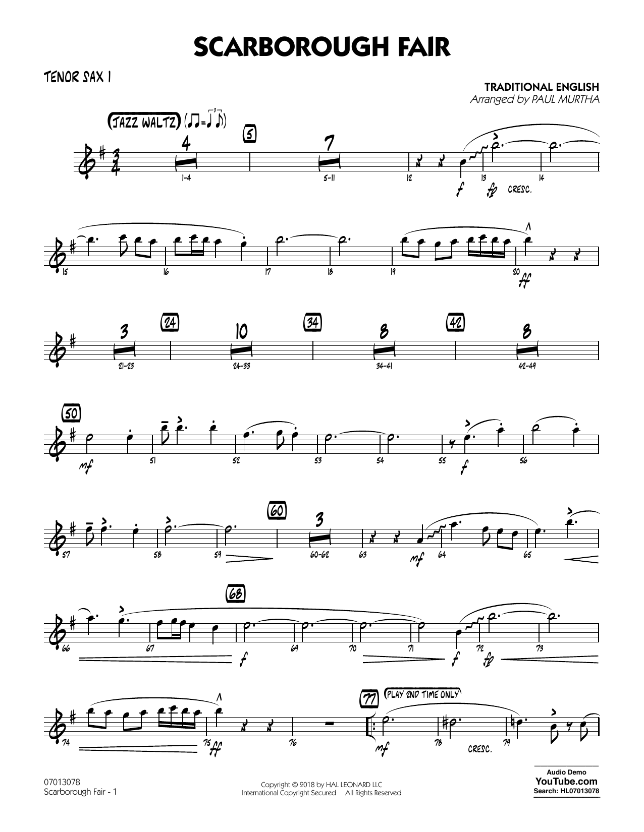 Paul Murtha Scarborough Fair - Tenor Sax 1 sheet music notes printable PDF score