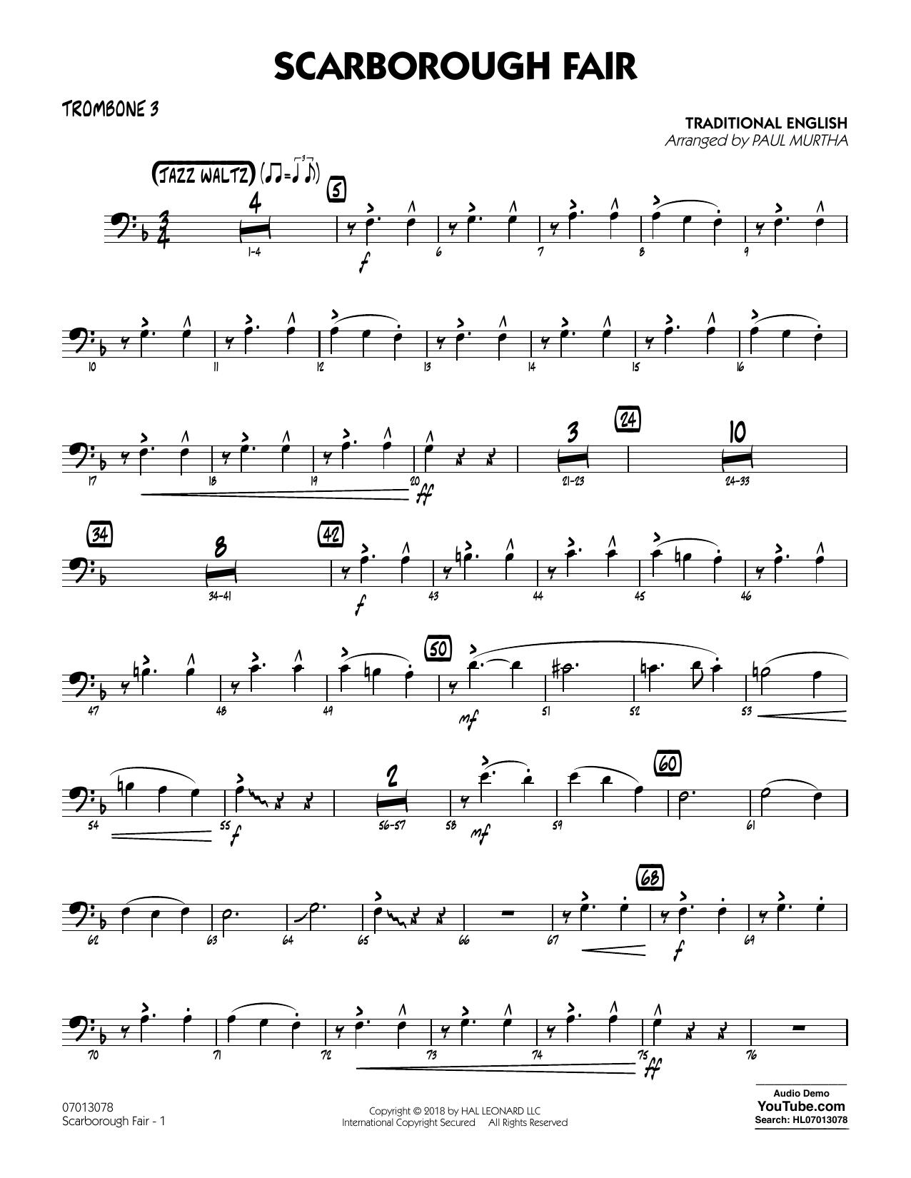 Paul Murtha Scarborough Fair - Trombone 3 sheet music notes printable PDF score