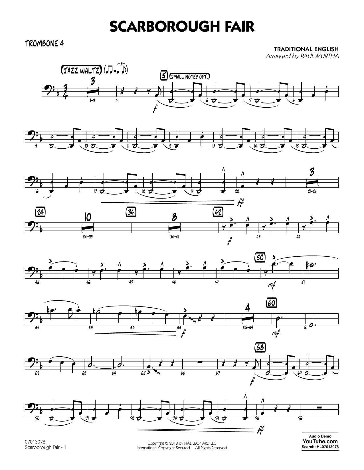 Paul Murtha Scarborough Fair - Trombone 4 sheet music notes printable PDF score