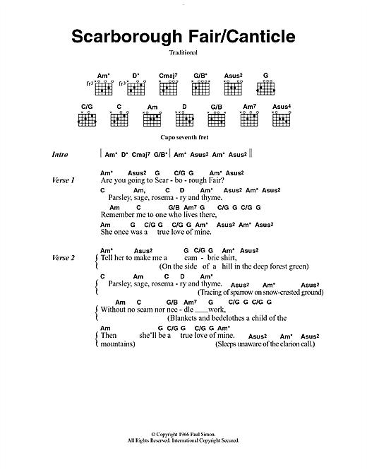 Simon & Garfunkel Scarborough Fair/Canticle sheet music notes printable PDF score