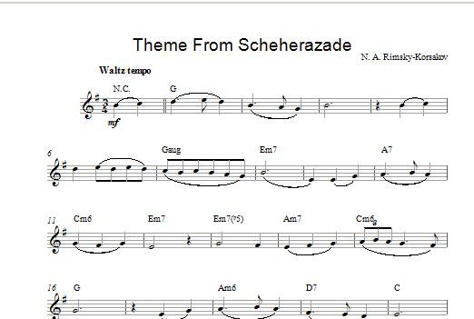 Nikolai Rimsky-Korsakov Theme from Scheherazade sheet music notes printable PDF score