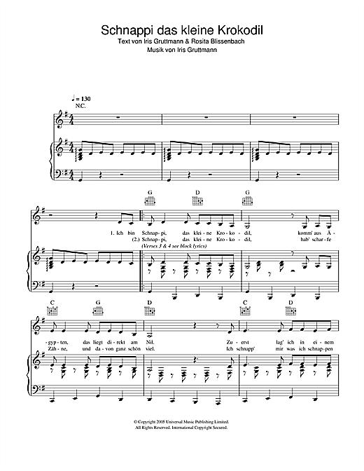 Schnappi Schnappi das kleine Krokodil sheet music notes printable PDF score