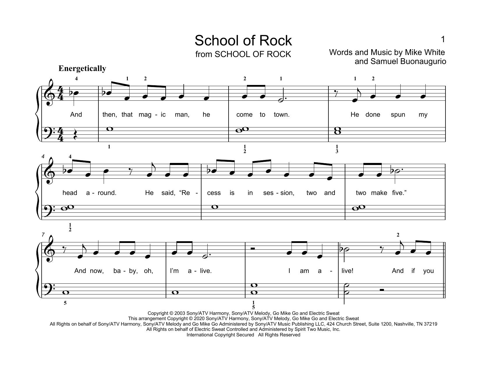 Mike White & Samuel Buonaugurio School Of Rock (arr. Christopher Hussey) sheet music notes printable PDF score