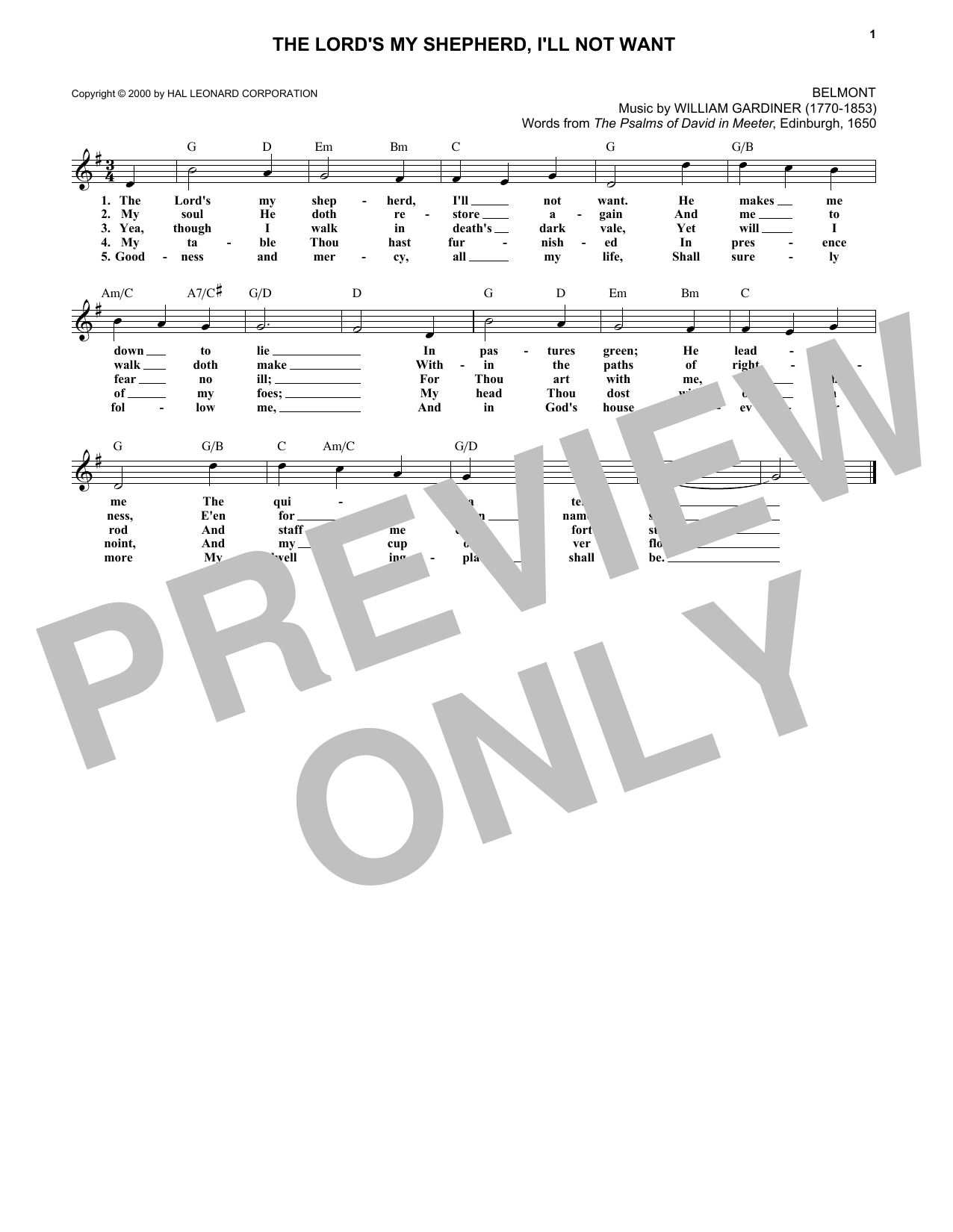 Scottish Psalter The Lord's My Shepherd, I'll Not Want sheet music notes and chords. Download Printable PDF.