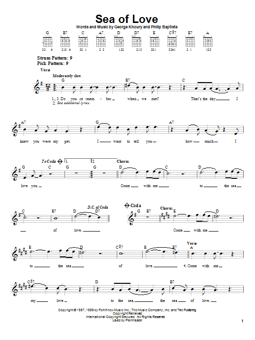 Phil Phillips Sea Of Love sheet music notes printable PDF score