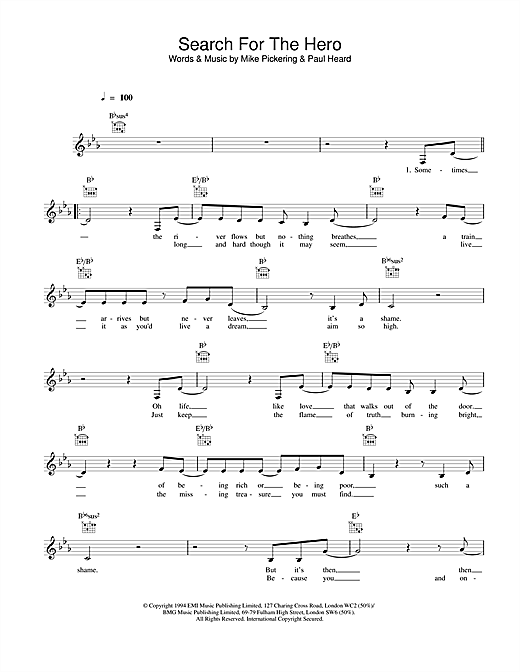 M People Search For The Hero sheet music notes printable PDF score