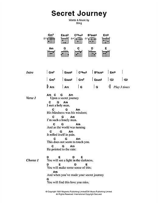 The Police Secret Journey sheet music notes printable PDF score