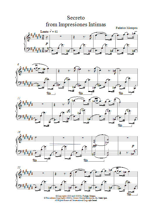 Mompou Secreto From Impresiones Intimas sheet music notes printable PDF score
