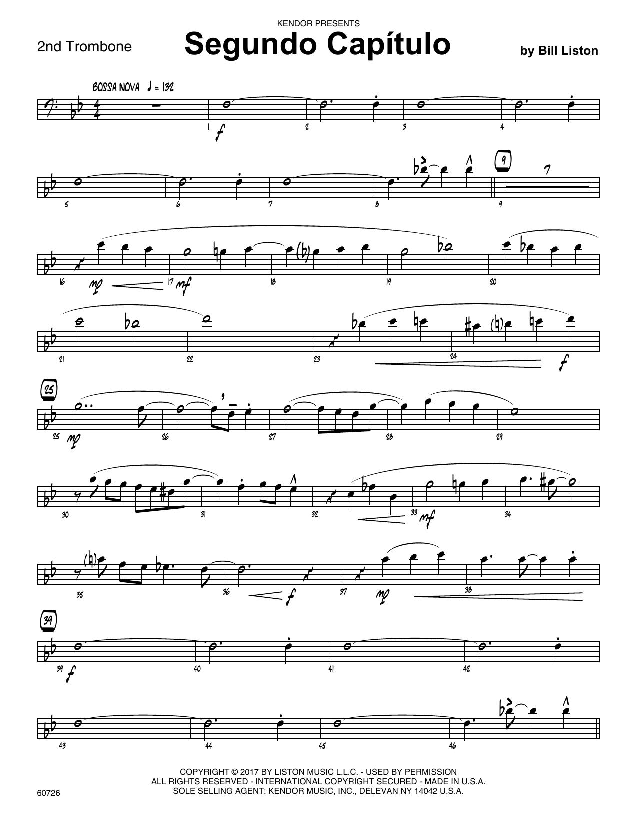 Bill Liston Segundo Capitulo - 2nd Trombone sheet music notes printable PDF score
