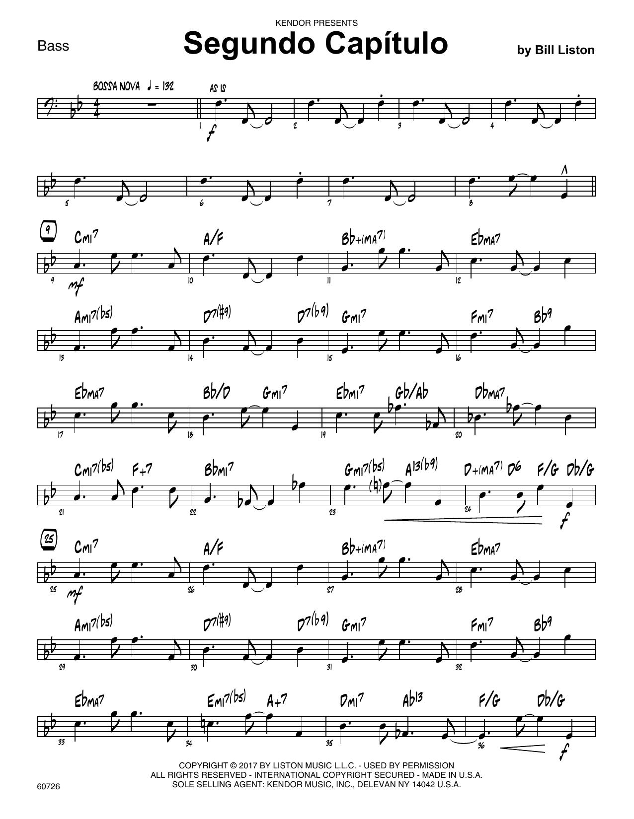 Bill Liston Segundo Capitulo - Bass sheet music notes printable PDF score