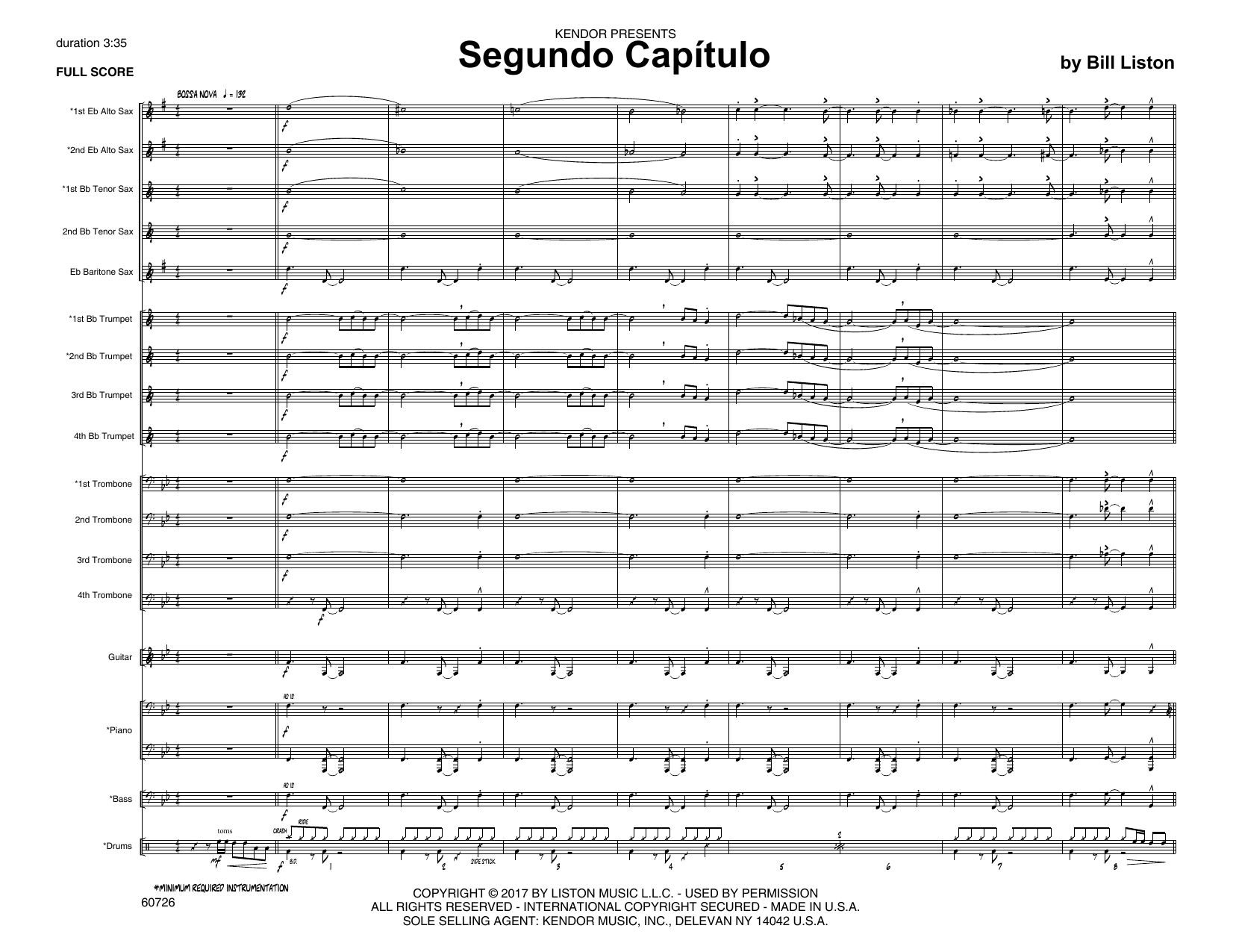 Bill Liston Segundo Capitulo - Full Score sheet music notes printable PDF score