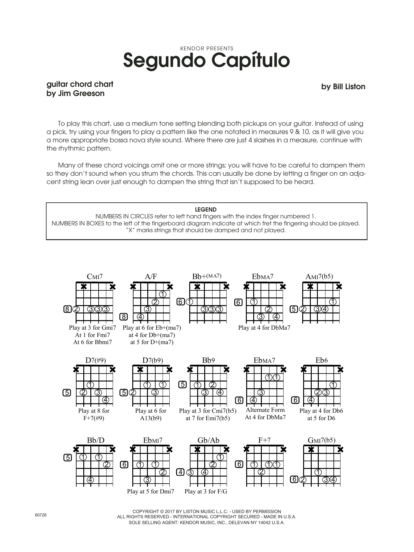 Bill Liston Segundo Capitulo - Guitar Chord Chart sheet music notes printable PDF score