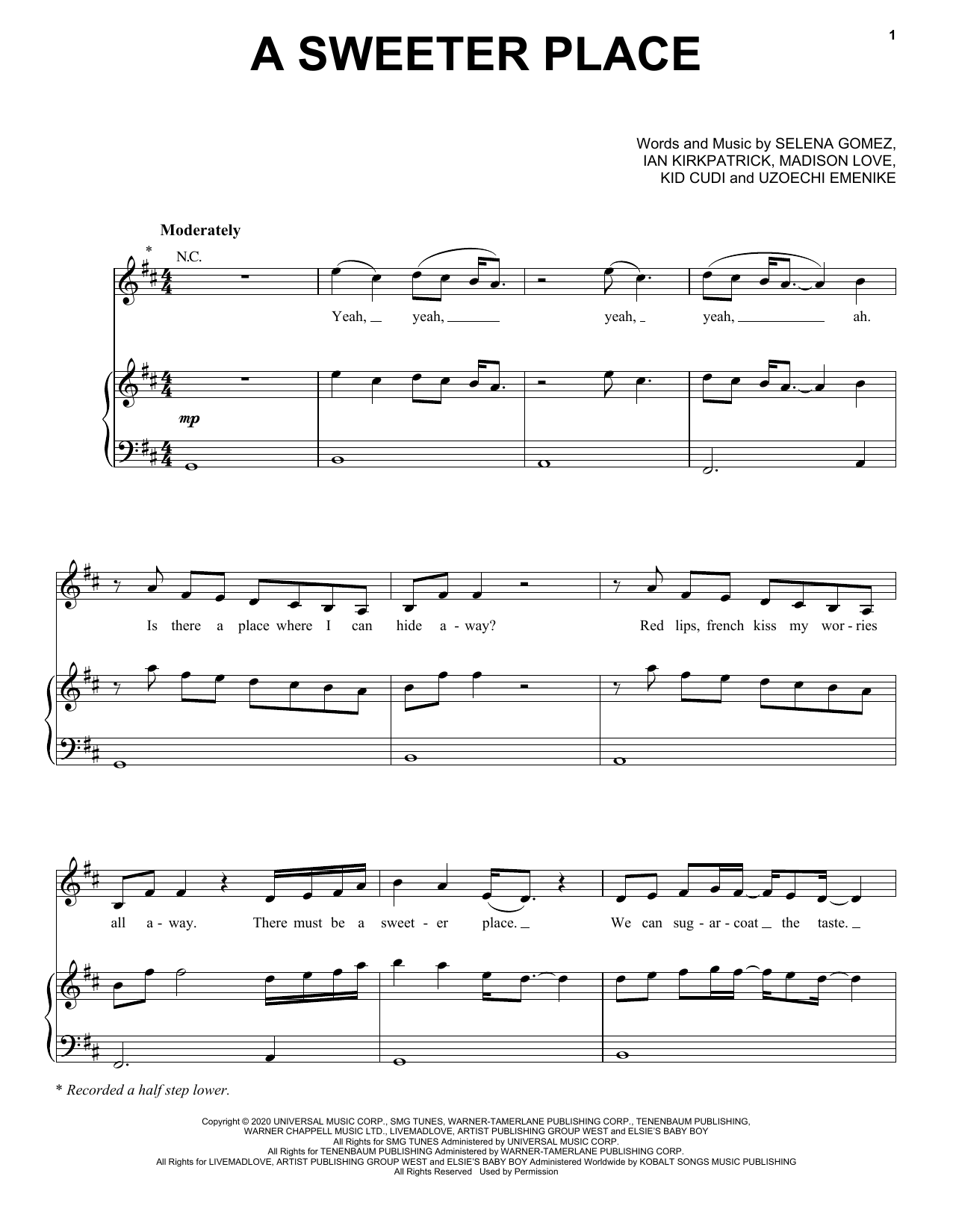 Selena Gomez A Sweeter Place (feat. Kid Cudi) sheet music notes and chords. Download Printable PDF.