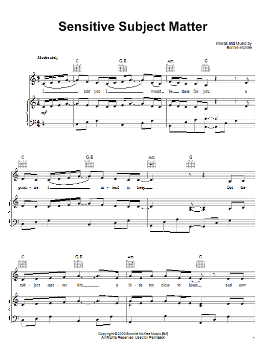 Bonnie McKee Sensitive Subject Matter sheet music notes printable PDF score