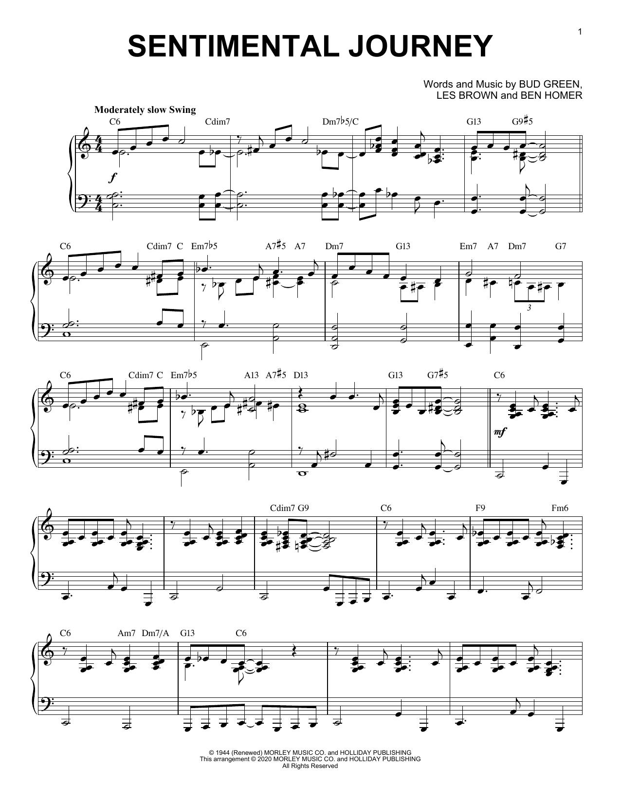 Bud Green Sentimental Journey [Jazz version] (arr. Brent Edstrom) sheet music notes printable PDF score