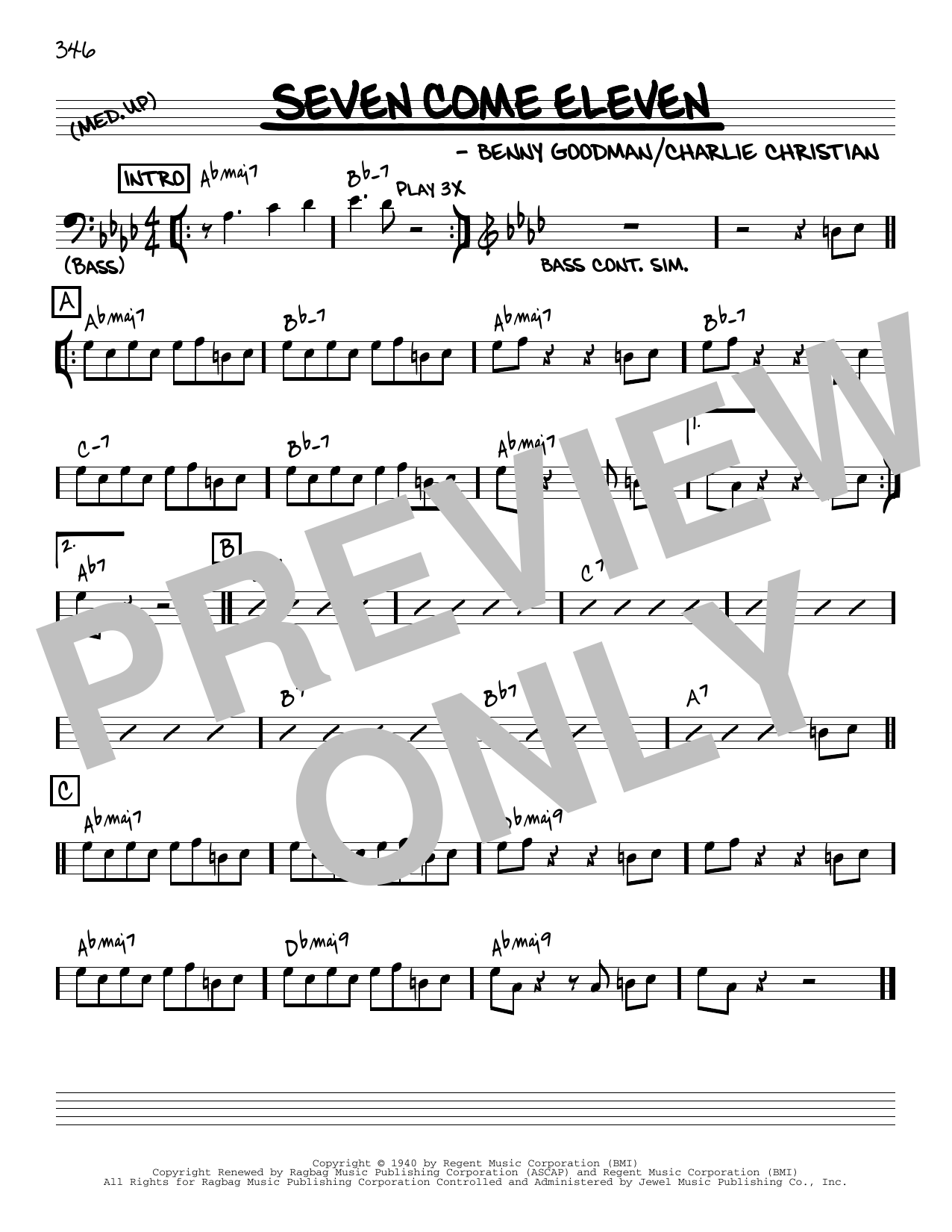 Benny Goodman Seven Come Eleven [Reharmonized version] (arr. Jack Grassel) sheet music notes printable PDF score