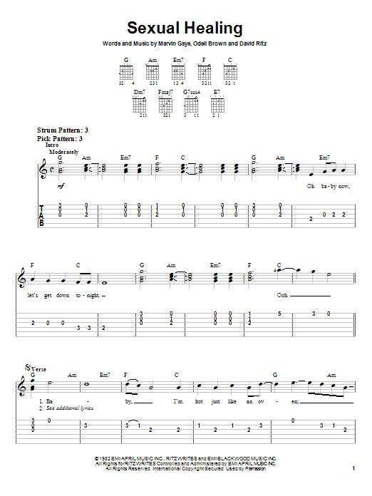 Marvin Gaye Sexual Healing sheet music notes printable PDF score