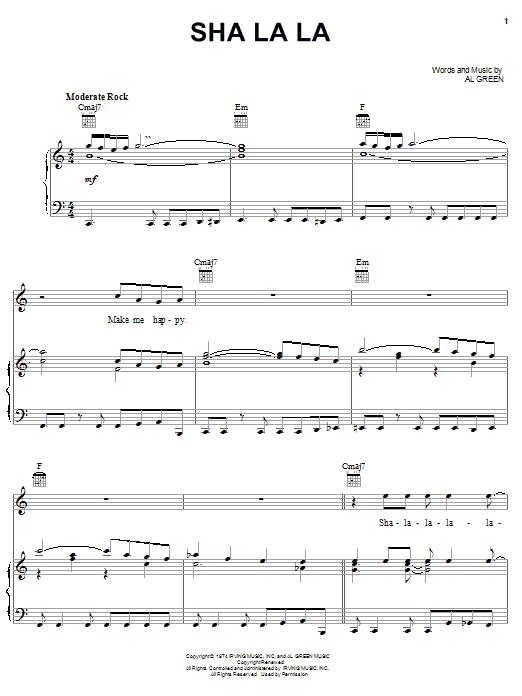 Al Green Sha La La sheet music notes printable PDF score