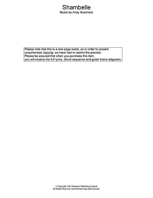 The Police Shambelle sheet music notes printable PDF score