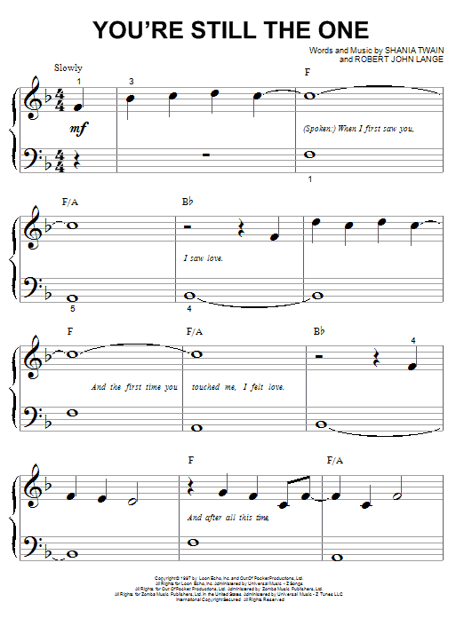 Shania Twain You're Still The One sheet music notes printable PDF score