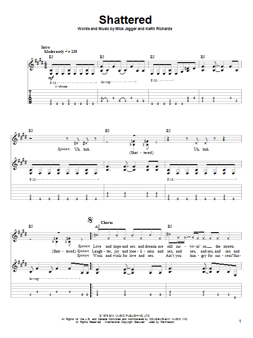 The Rolling Stones Shattered sheet music notes printable PDF score