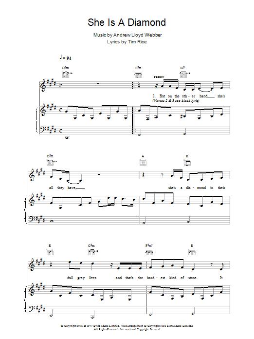 Andrew Lloyd Webber She Is A Diamond sheet music notes printable PDF score