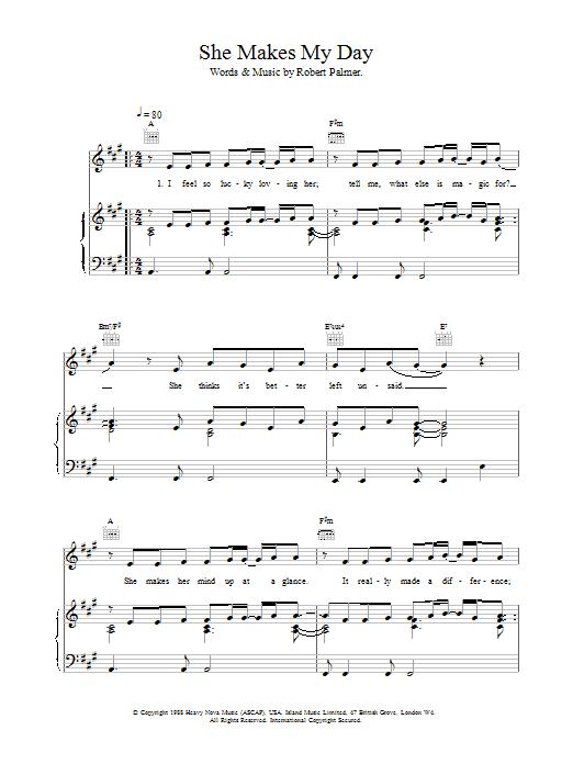 Robert Palmer She Makes My Day sheet music notes printable PDF score