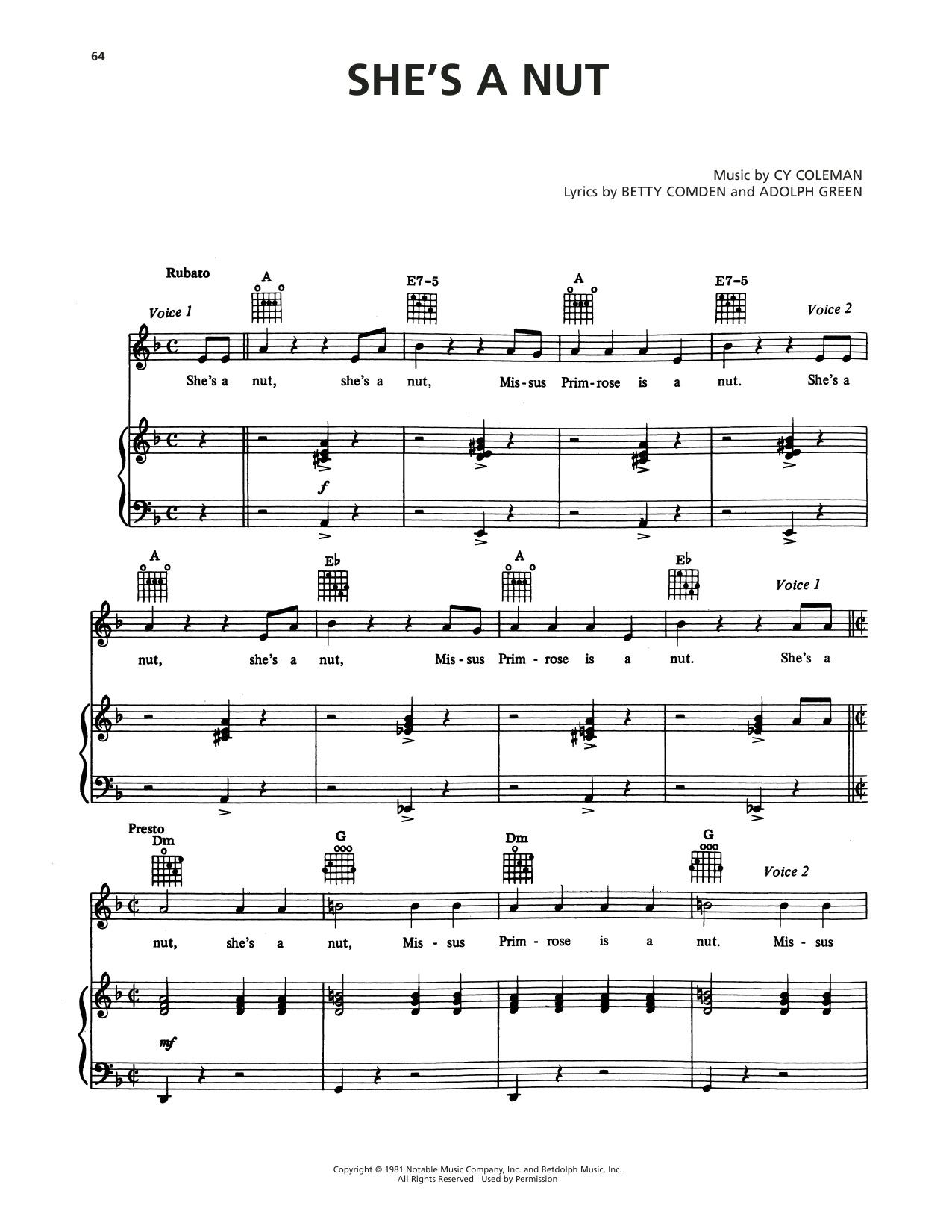 Cy Coleman She's A Nut (from On The Twentieth Century) sheet music notes printable PDF score
