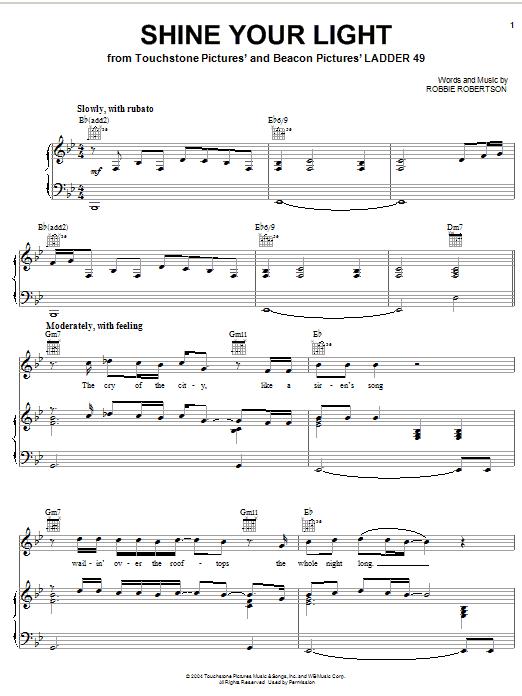 Robbie Robertson Shine Your Light sheet music notes printable PDF score