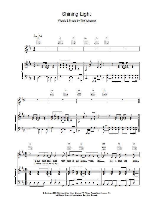 Ash Shining Light sheet music notes printable PDF score