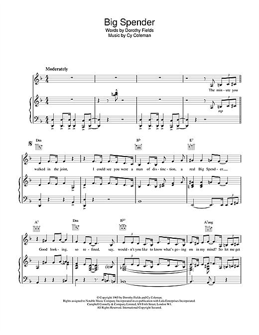 Shirley Bassey Big Spender (from Sweet Charity) sheet music notes printable PDF score