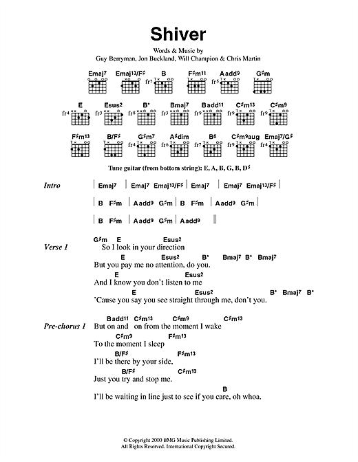 Coldplay Shiver sheet music notes printable PDF score