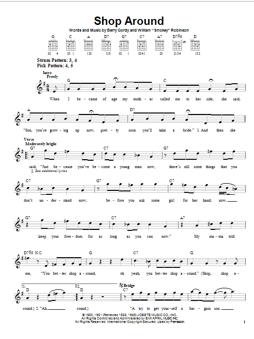 Smokey Robinson & The Miracles Shop Around sheet music notes printable PDF score