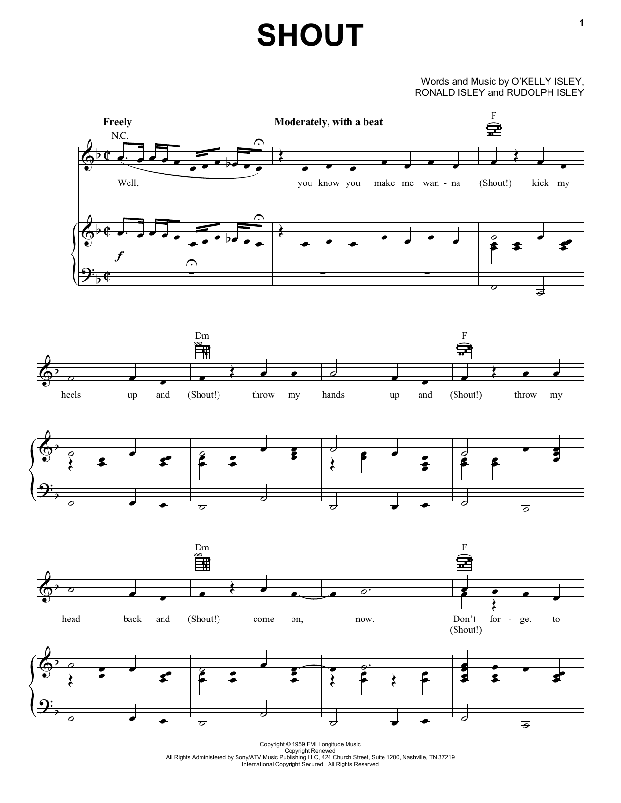 The Isley Brothers Shout sheet music notes printable PDF score