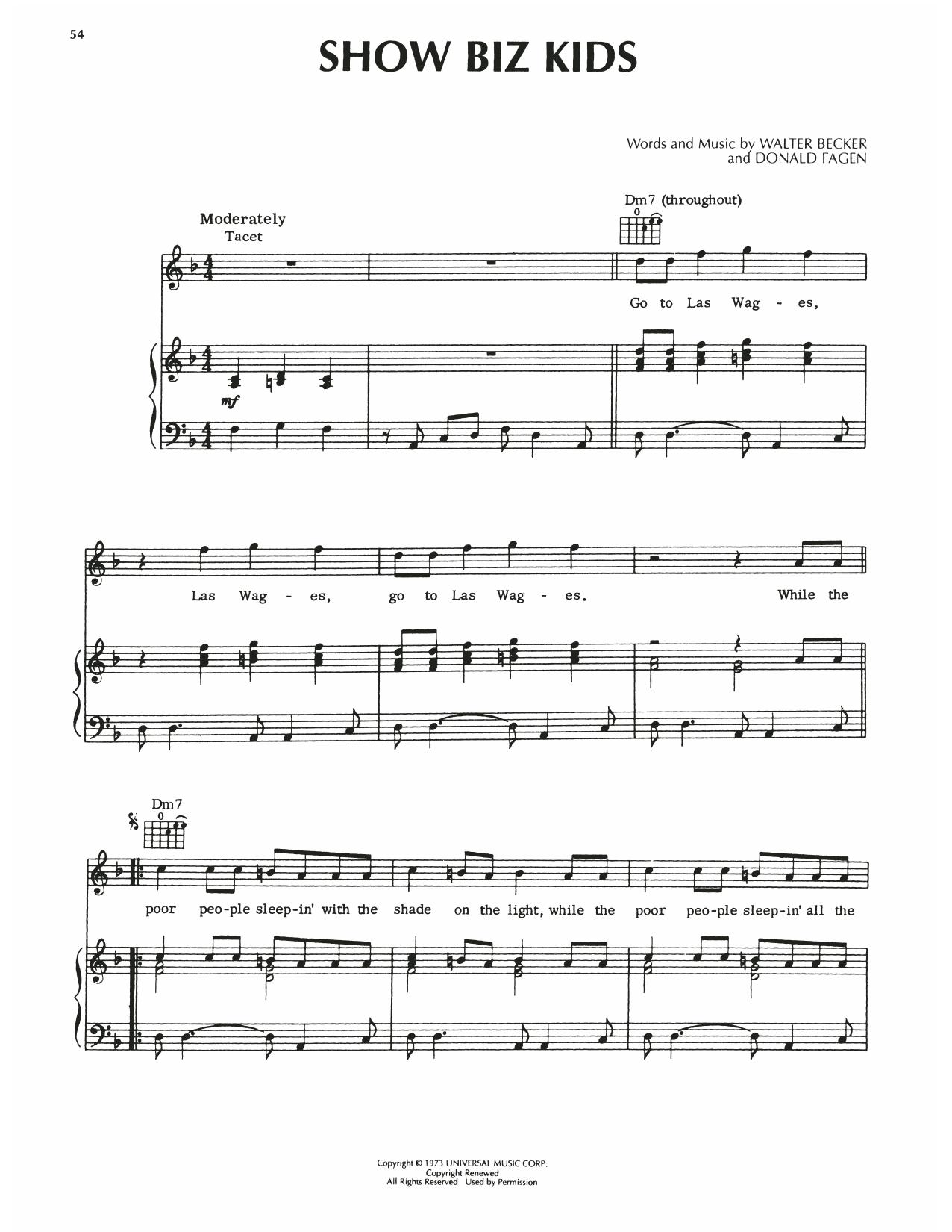 Steely Dan Show Biz Kids sheet music notes printable PDF score