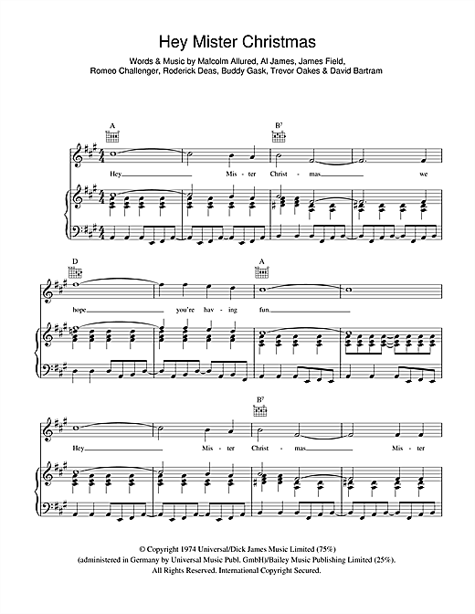 Showaddywaddy Hey Mr. Christmas sheet music notes and chords. Download Printable PDF.
