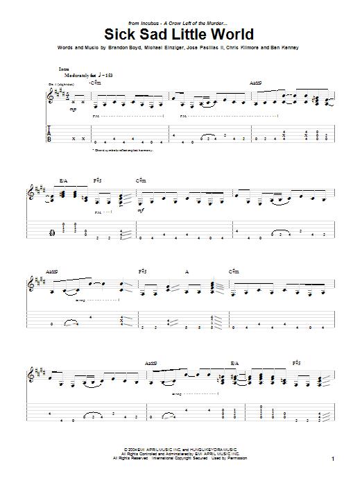 Incubus Sick Sad Little World sheet music notes printable PDF score