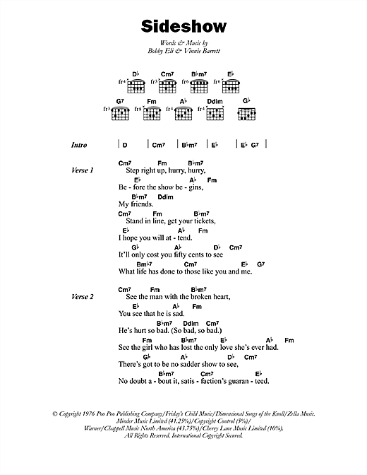 Barry Biggs Sideshow sheet music notes printable PDF score