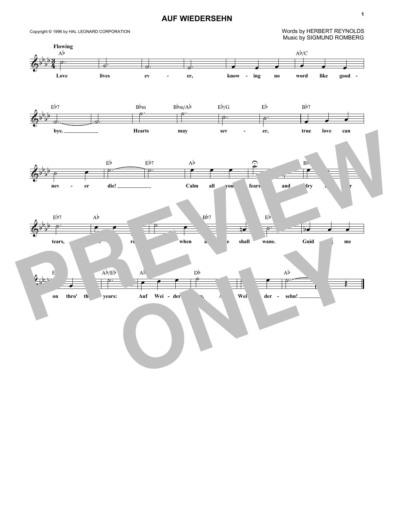 Sigmund Romberg Auf Wiedersehn sheet music notes and chords. Download Printable PDF.