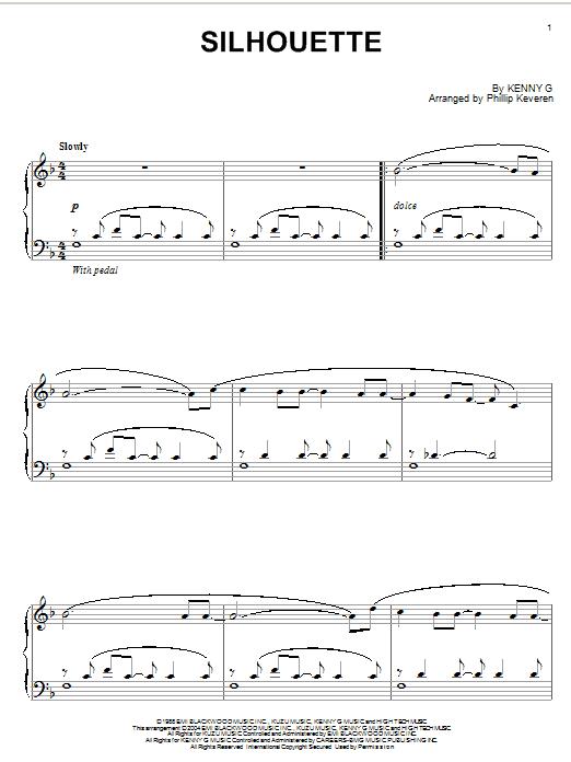 Kenny G Silhouette sheet music notes printable PDF score