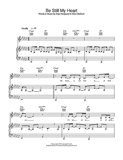 Silje Nergaard Be Still My Heart sheet music notes and chords. Download Printable PDF.